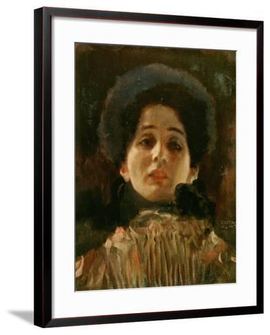 Portrait En Face of a Woman-Gustav Klimt-Framed Art Print