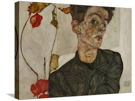 Self-Portrait with Chinese Lantern and Fruits-Egon Schiele-Stretched Canvas Print