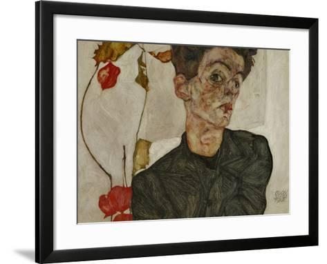 Self-Portrait with Chinese Lantern and Fruits-Egon Schiele-Framed Art Print