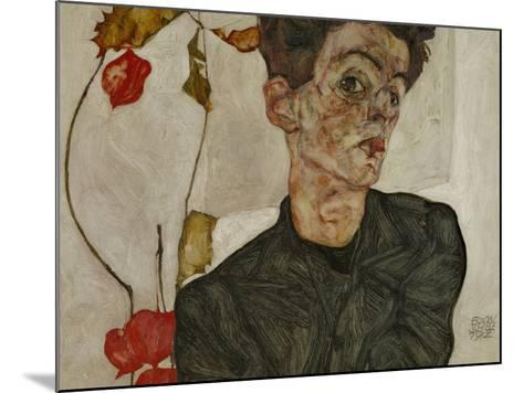 Self-Portrait with Chinese Lantern and Fruits-Egon Schiele-Mounted Giclee Print