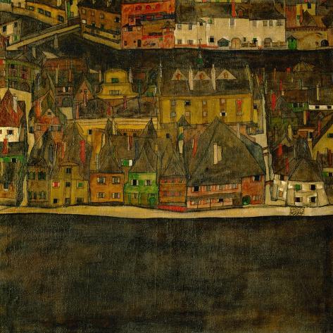 Die Kleine Stadt (II) or Kleine Stadt (III) Assembled from Separate Parts-Egon Schiele-Stretched Canvas Print