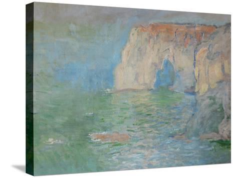 Etretat, the Cliff, Reflections on Water; 1885-Claude Monet-Stretched Canvas Print