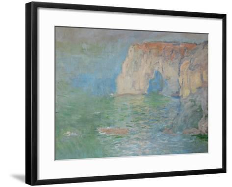 Etretat, the Cliff, Reflections on Water; 1885-Claude Monet-Framed Art Print