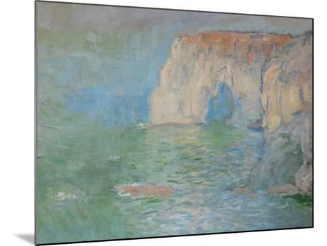 Etretat, the Cliff, Reflections on Water; 1885-Claude Monet-Mounted Giclee Print