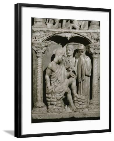 Detail of Job from the Sarcophagus of Junius Bassus--Framed Art Print