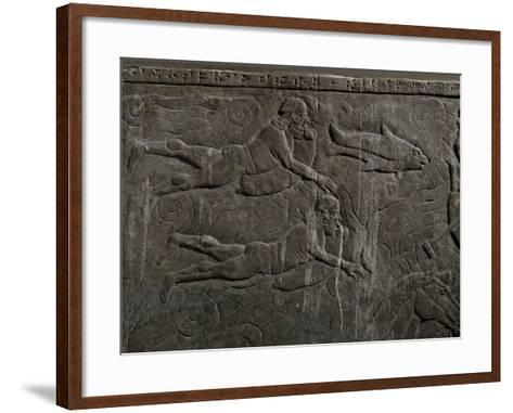 Fugitives Cross a Moat Swimming with Goat Skins or Bladders--Framed Art Print