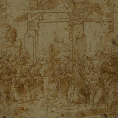 Adoration of the Shepherds-Lorenzo di Credi-Stretched Canvas Print