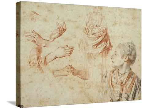 Study, Red Chalk Drawing, Pencil and Black Chalk-Jean Antoine Watteau-Stretched Canvas Print