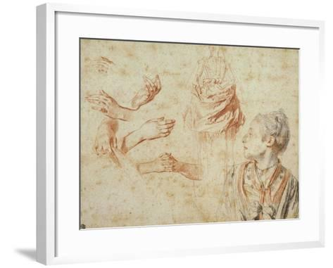 Study, Red Chalk Drawing, Pencil and Black Chalk-Jean Antoine Watteau-Framed Art Print
