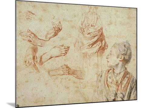Study, Red Chalk Drawing, Pencil and Black Chalk-Jean Antoine Watteau-Mounted Giclee Print
