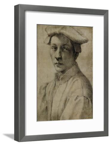 Portrait of Andrea Quaratesi, Around 1532, Black Chalk on Paper-Michelangelo Buonarroti-Framed Art Print