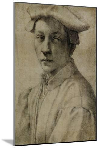 Portrait of Andrea Quaratesi, Around 1532, Black Chalk on Paper-Michelangelo Buonarroti-Mounted Giclee Print