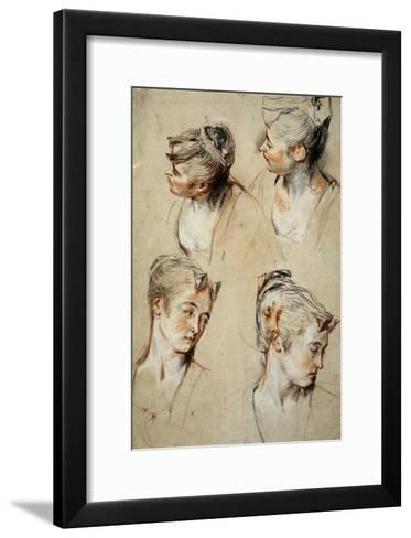 'Four Studies of a Young Woman's Head', 1716-1717-Jean Antoine Watteau-Framed Art Print