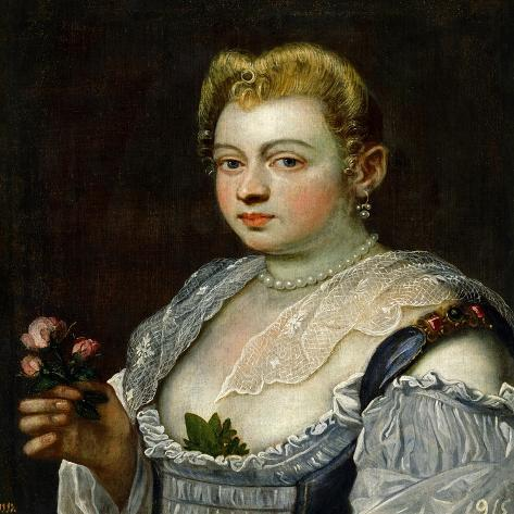 Portrait of an Unknown Lady-Jacopo Robusti Tintoretto-Stretched Canvas Print