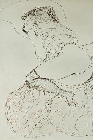 Female Nude, Turned to the Left, 1912-13-Gustav Klimt-Stretched Canvas Print