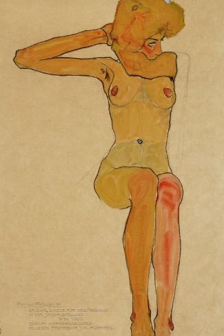Seated Female Nude with Raised Right Arm, 1910-Egon Schiele-Stretched Canvas Print
