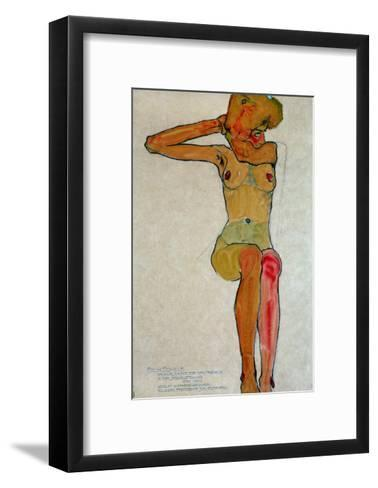 Seated Female Nude with Raised Right Arm, 1910-Egon Schiele-Framed Art Print