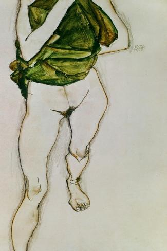 Striding Torso in Green Shirt, 1913-Egon Schiele-Stretched Canvas Print