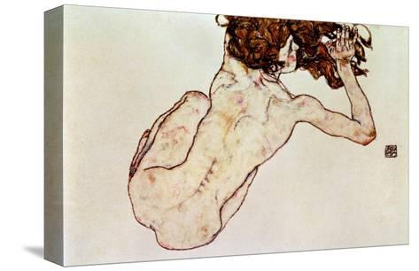 Crouching Nude, Back View, 1917-Egon Schiele-Stretched Canvas Print