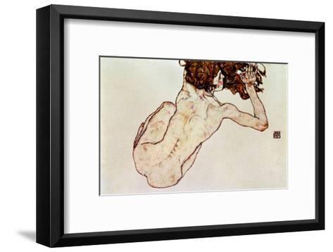 Crouching Nude, Back View, 1917-Egon Schiele-Framed Art Print