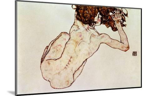 Crouching Nude, Back View, 1917-Egon Schiele-Mounted Giclee Print