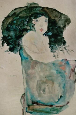 Girl with Blue-Black Hair and Hat, 1911-Egon Schiele-Stretched Canvas Print