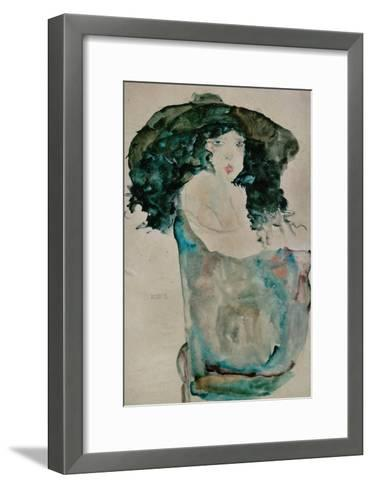 Girl with Blue-Black Hair and Hat, 1911-Egon Schiele-Framed Art Print