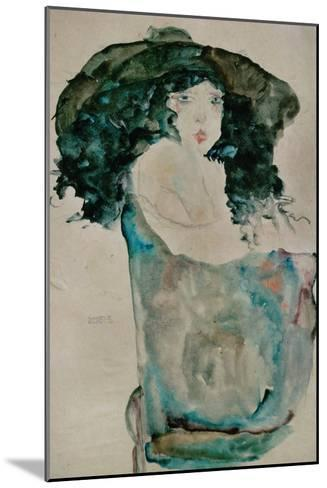 Girl with Blue-Black Hair and Hat, 1911-Egon Schiele-Mounted Giclee Print