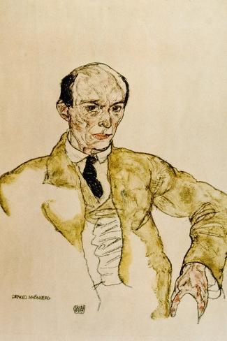 Composer Arnold Schoenberg, 1917-Egon Schiele-Stretched Canvas Print