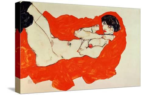 Reclining Female Nude on Red Drape, 1914-Egon Schiele-Stretched Canvas Print