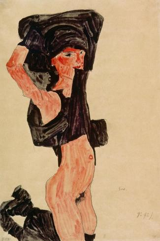 Kneeling Girl, Disrobing, 1910-Egon Schiele-Stretched Canvas Print