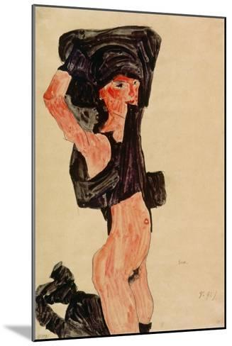 Kneeling Girl, Disrobing, 1910-Egon Schiele-Mounted Giclee Print