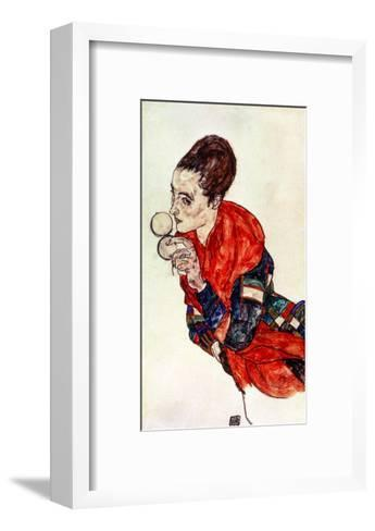 Portrait of the Actress Marga Boerner with Compact, 1917-Egon Schiele-Framed Art Print