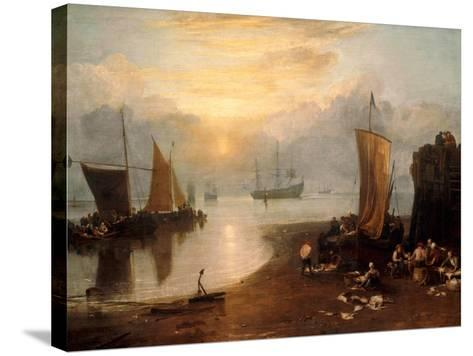 Sun Rising Through Vapour: Fishermen Cleaning and Selling Fish-J^ M^ W^ Turner-Stretched Canvas Print