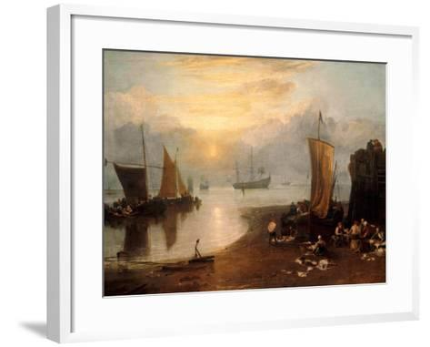 Sun Rising Through Vapour: Fishermen Cleaning and Selling Fish-J^ M^ W^ Turner-Framed Art Print