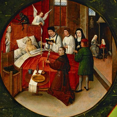 The Table of the Seven Deadly Sins, Death, Detail-Hieronymus Bosch-Stretched Canvas Print