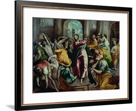 Christ Driving the Moneylenders from the Temple, 1600-El Greco-Framed Art Print