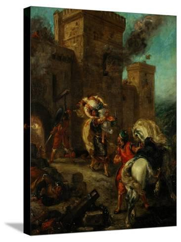Rebecca Raped by a Knight Templar During the Sack of the Castle Frondeboeuf-Eugene Delacroix-Stretched Canvas Print