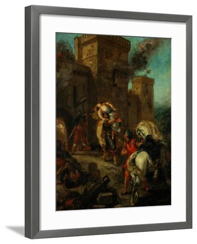 Rebecca Raped by a Knight Templar During the Sack of the Castle Frondeboeuf-Eugene Delacroix-Framed Art Print