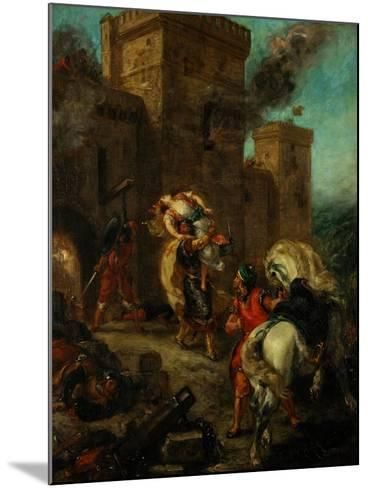 Rebecca Raped by a Knight Templar During the Sack of the Castle Frondeboeuf-Eugene Delacroix-Mounted Giclee Print