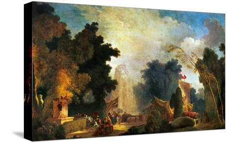 La Fete a St. Cloud, a Celebration in St. Cloud-Jean-Honor? Fragonard-Stretched Canvas Print