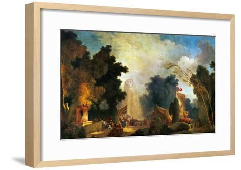 La Fete a St. Cloud, a Celebration in St. Cloud-Jean-Honor? Fragonard-Framed Art Print