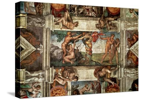 The Sistine Chapel: The Fall-Michelangelo Buonarroti-Stretched Canvas Print