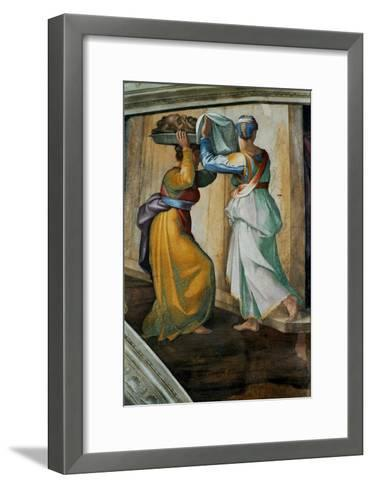 The Sistine Chapel; Ceiling Frescos after Restoration, Judith and Holofernes-Michelangelo Buonarroti-Framed Art Print