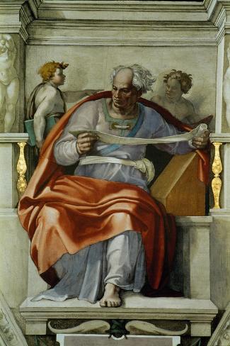 The Sistine Chapel; Ceiling Frescos after Restoration, the Prophet Joel-Michelangelo Buonarroti-Stretched Canvas Print