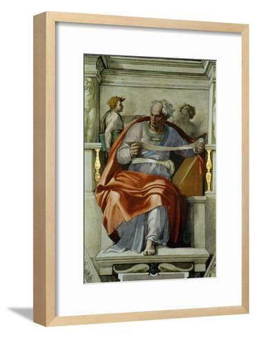 The Sistine Chapel; Ceiling Frescos after Restoration, the Prophet Joel-Michelangelo Buonarroti-Framed Art Print