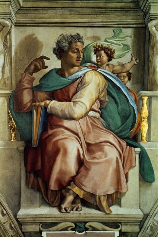 The Sistine Chapel; Ceiling Frescos after Restoration, the Prophet Isaiah-Michelangelo Buonarroti-Stretched Canvas Print