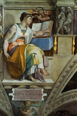The Sistine Chapel; Ceiling Frescos after Restoration, the Erithrean Sibyl-Michelangelo Buonarroti-Stretched Canvas Print