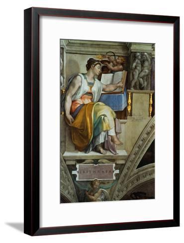 The Sistine Chapel; Ceiling Frescos after Restoration, the Erithrean Sibyl-Michelangelo Buonarroti-Framed Art Print