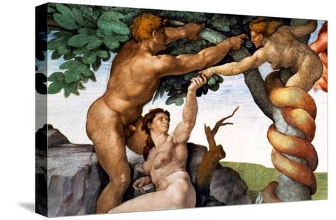 The Sistine Chapel; Ceiling Frescos after Restoration, Original Sin-Michelangelo Buonarroti-Stretched Canvas Print